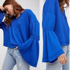 Free People Blue oversized waffle knit bell sleeve